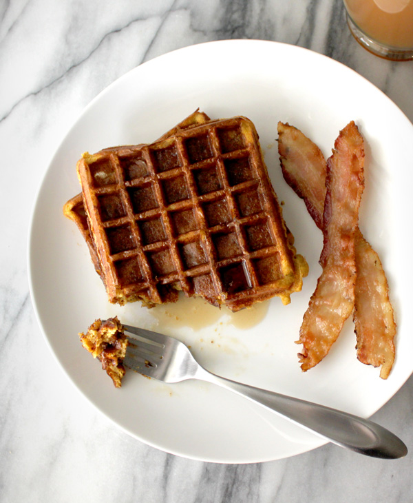 Pumpkin Waffles with Baked Bacon - Healing and Eating