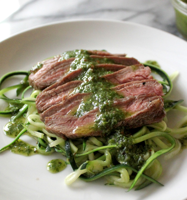 Grilled Flank Steak with Zoodles and Chimichurri - Healing and Eating