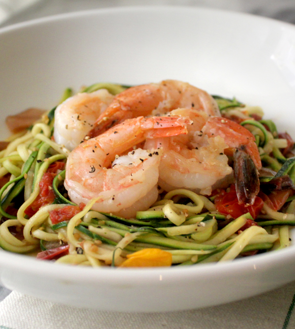 Shrimp and Zoodles with Roasted Cherry Tomatoes - Healing and Eating