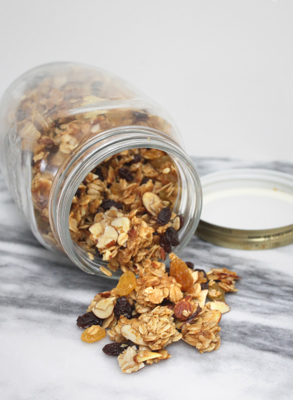 Oatmeal Raisin Granola - Heaing and Eating