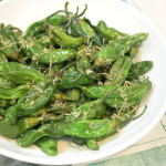 roasted shishito peppers with bonito flakes